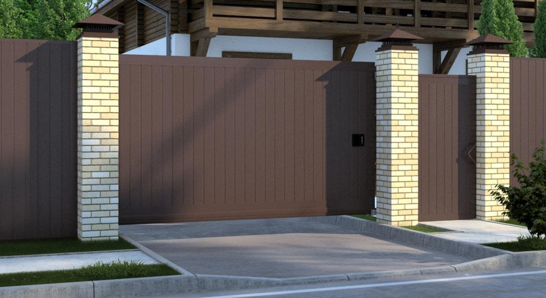 откатные ворота дорхан из сэндвич-панелей